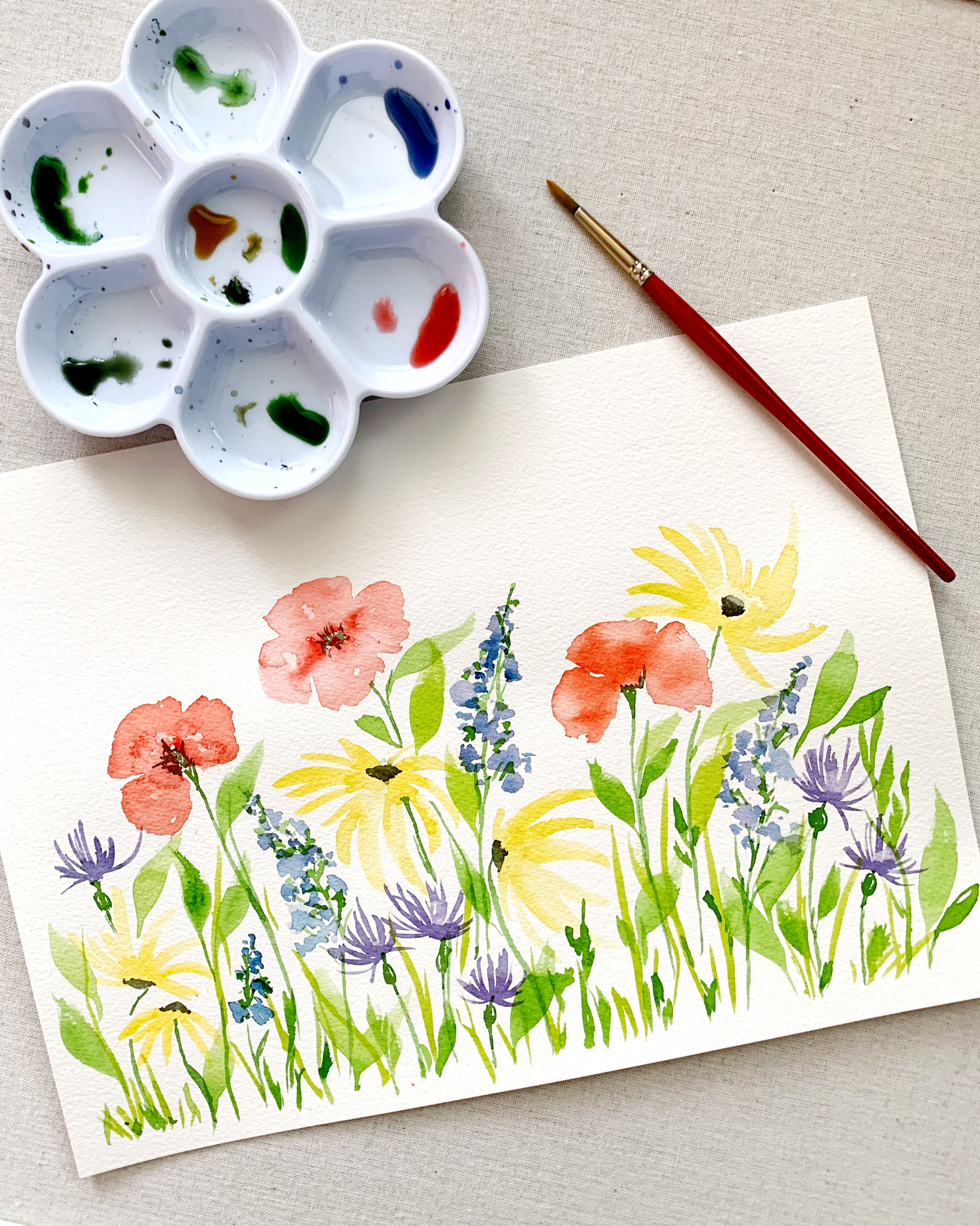 Mary & Me watercolor wildflowers